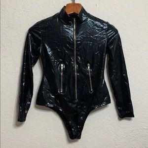 Tops - Faux Leather Zipper Bodysuit Costume